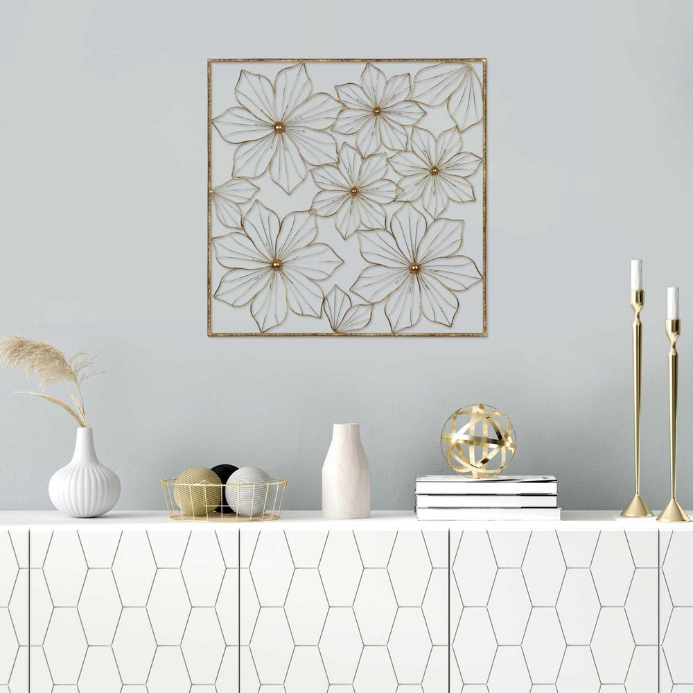 Floral Metal Wall Decor with Golden Finish - 376592. Picture 2