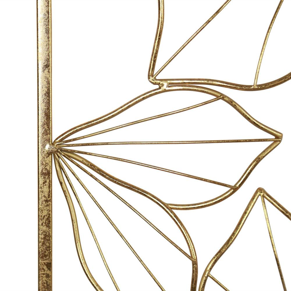 Floral Metal Wall Decor with Golden Finish - 376592. Picture 3