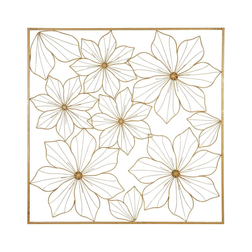 Floral Metal Wall Decor with Golden Finish - 376592. Picture 5