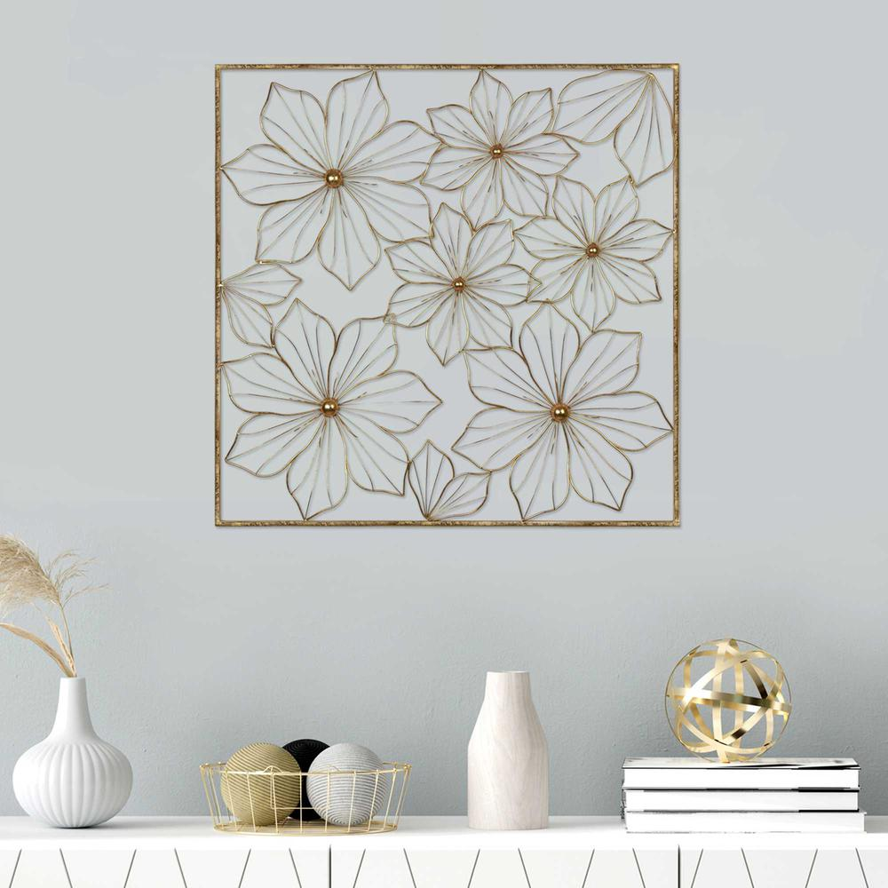 Floral Metal Wall Decor with Golden Finish - 376592. Picture 6