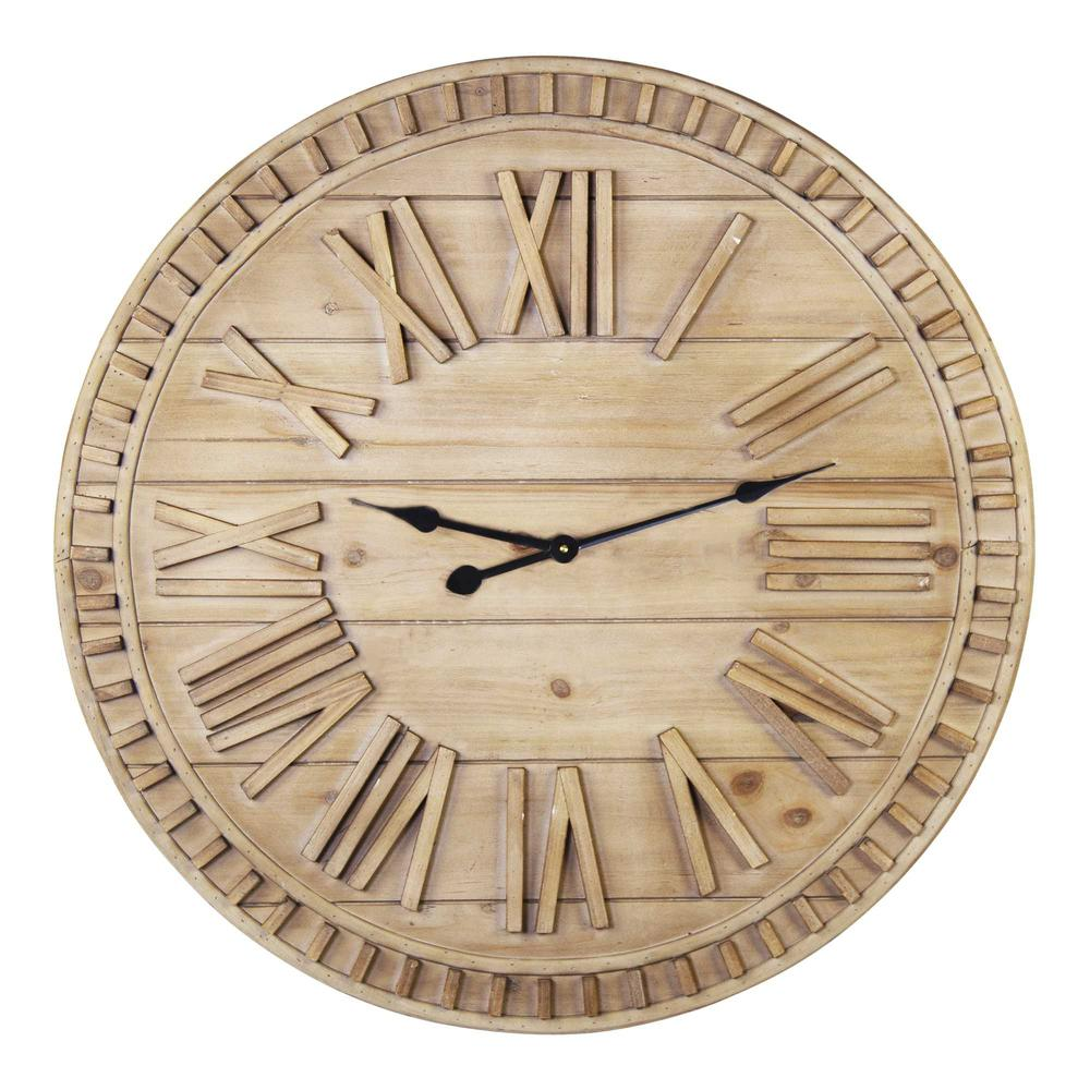 """32"""" Round Natural Wood Face Roman Numeral Wall Clock - 376593. Picture 1"""