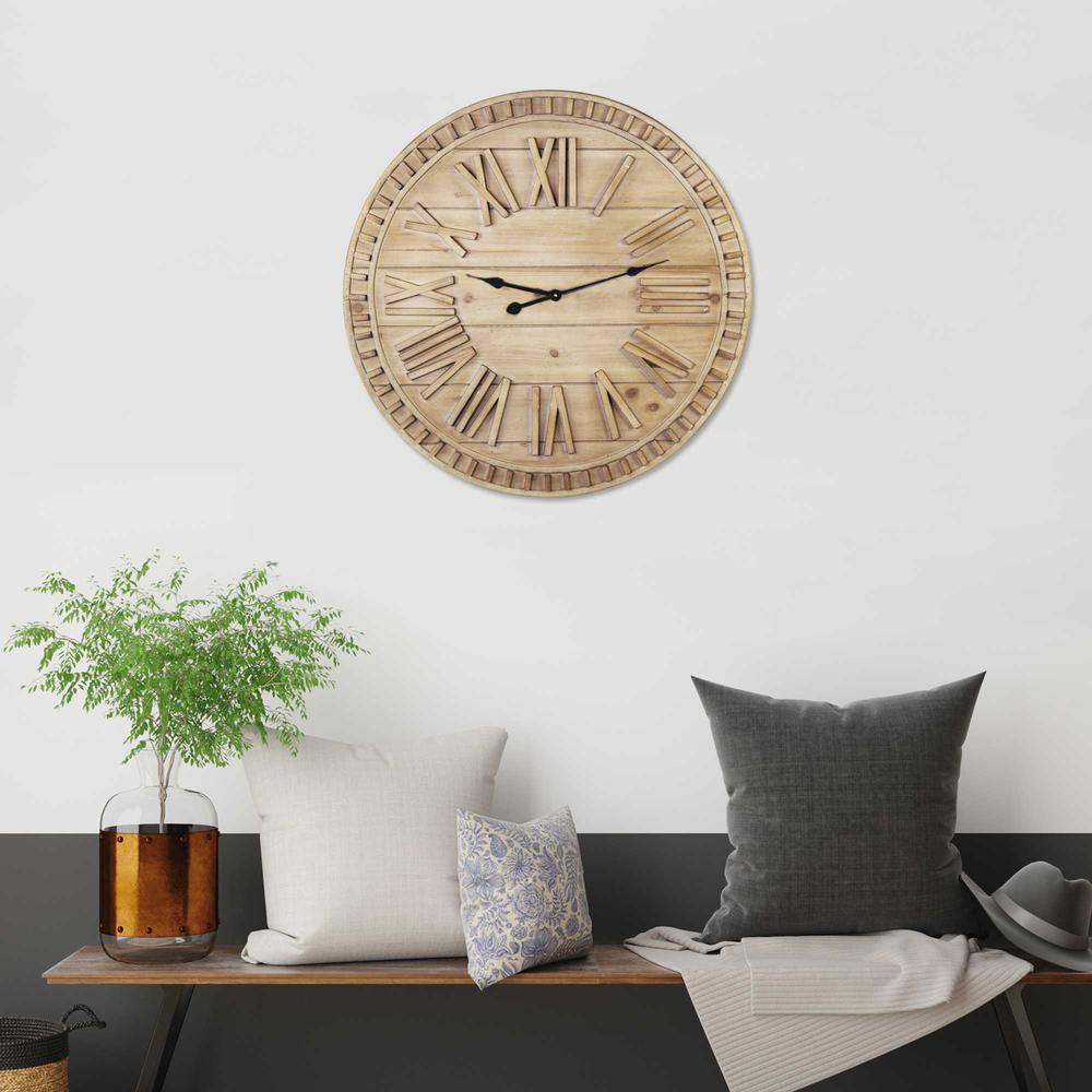 """32"""" Round Natural Wood Face Roman Numeral Wall Clock - 376593. Picture 2"""