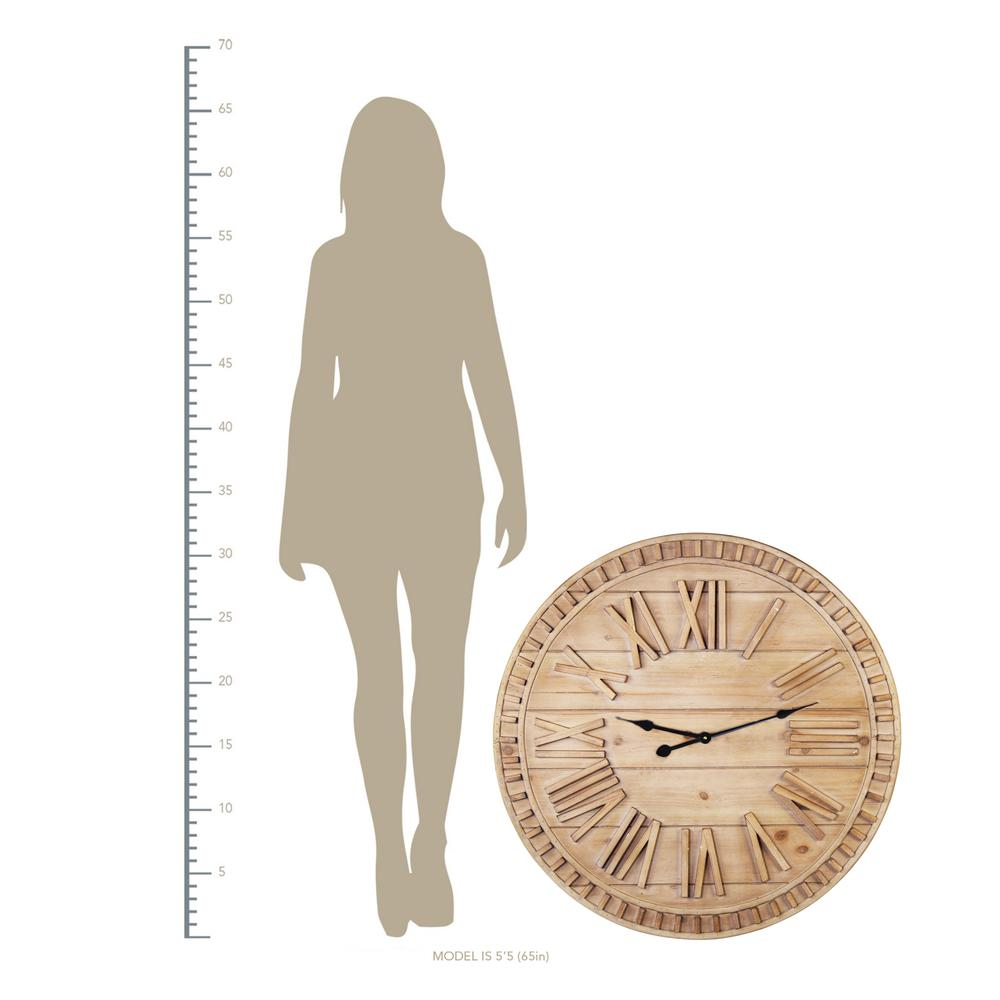 """32"""" Round Natural Wood Face Roman Numeral Wall Clock - 376593. Picture 4"""