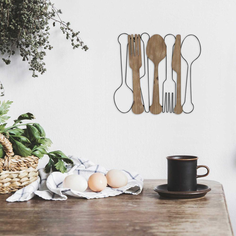 Kitchen Utensils Wall Decor with Metal Outlines - 376594. Picture 2