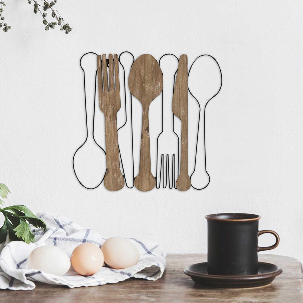 Kitchen Utensils Wall Decor with Metal Outlines - 376594. Picture 6