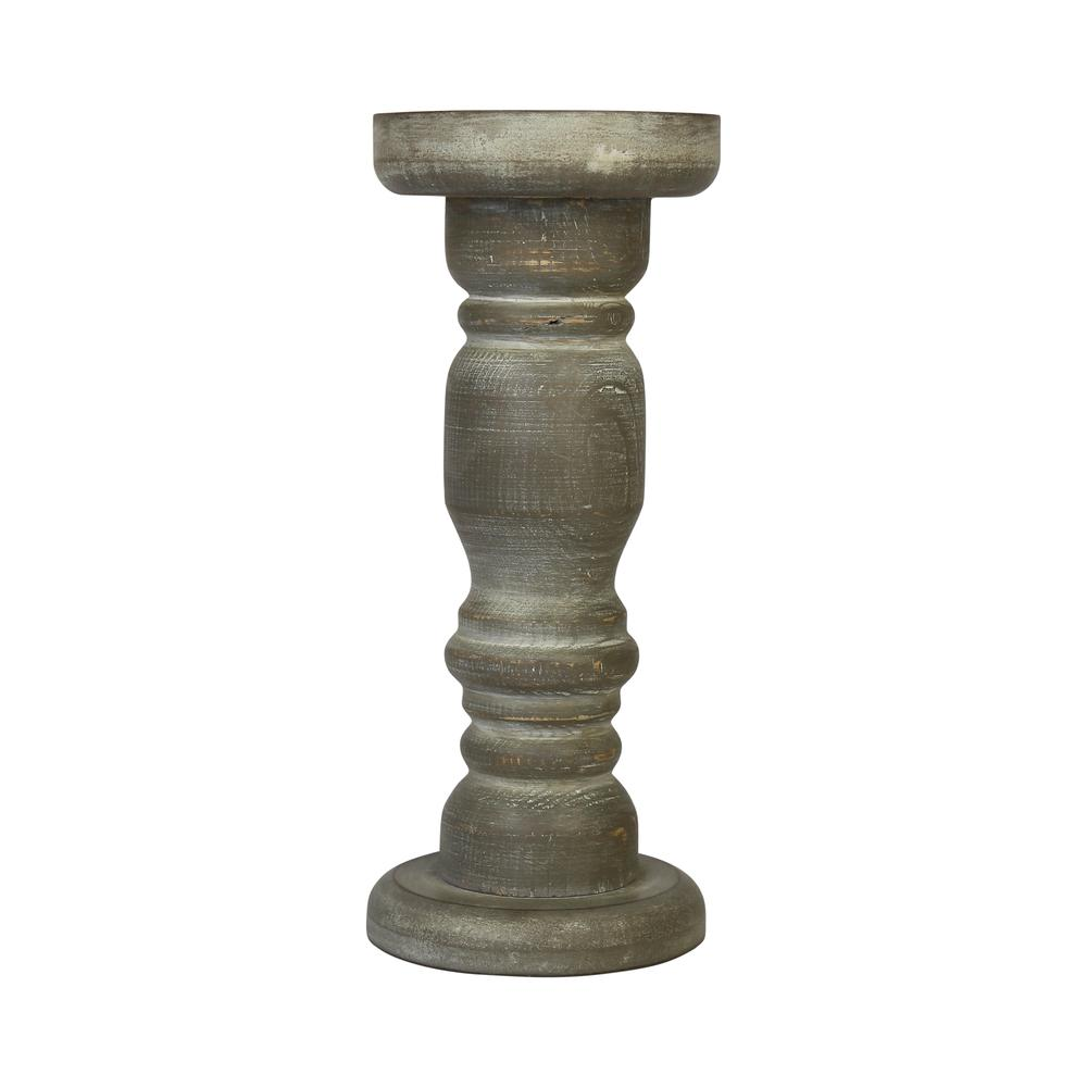 Rustic Gray Wash Wooden Candle Holder - 376605. Picture 1