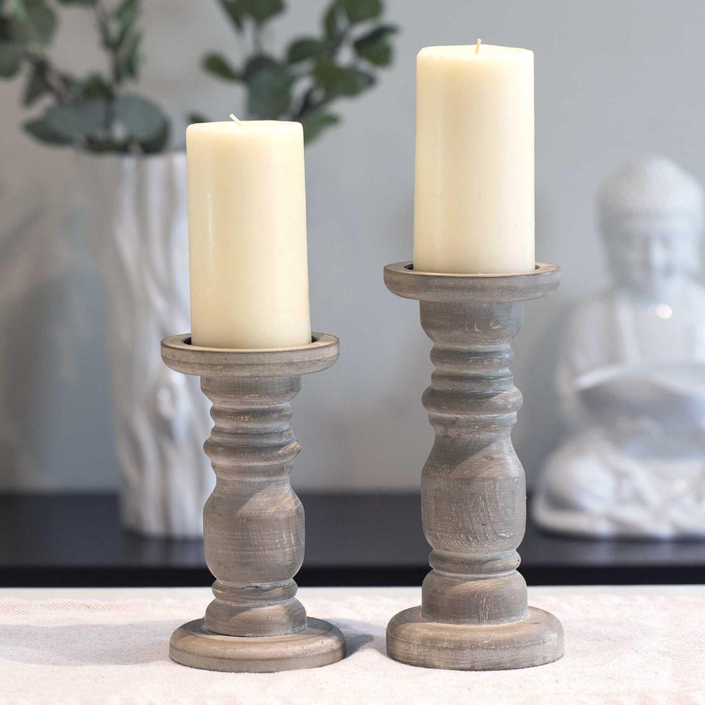 Rustic Gray Wash Wooden Candle Holder - 376605. Picture 5