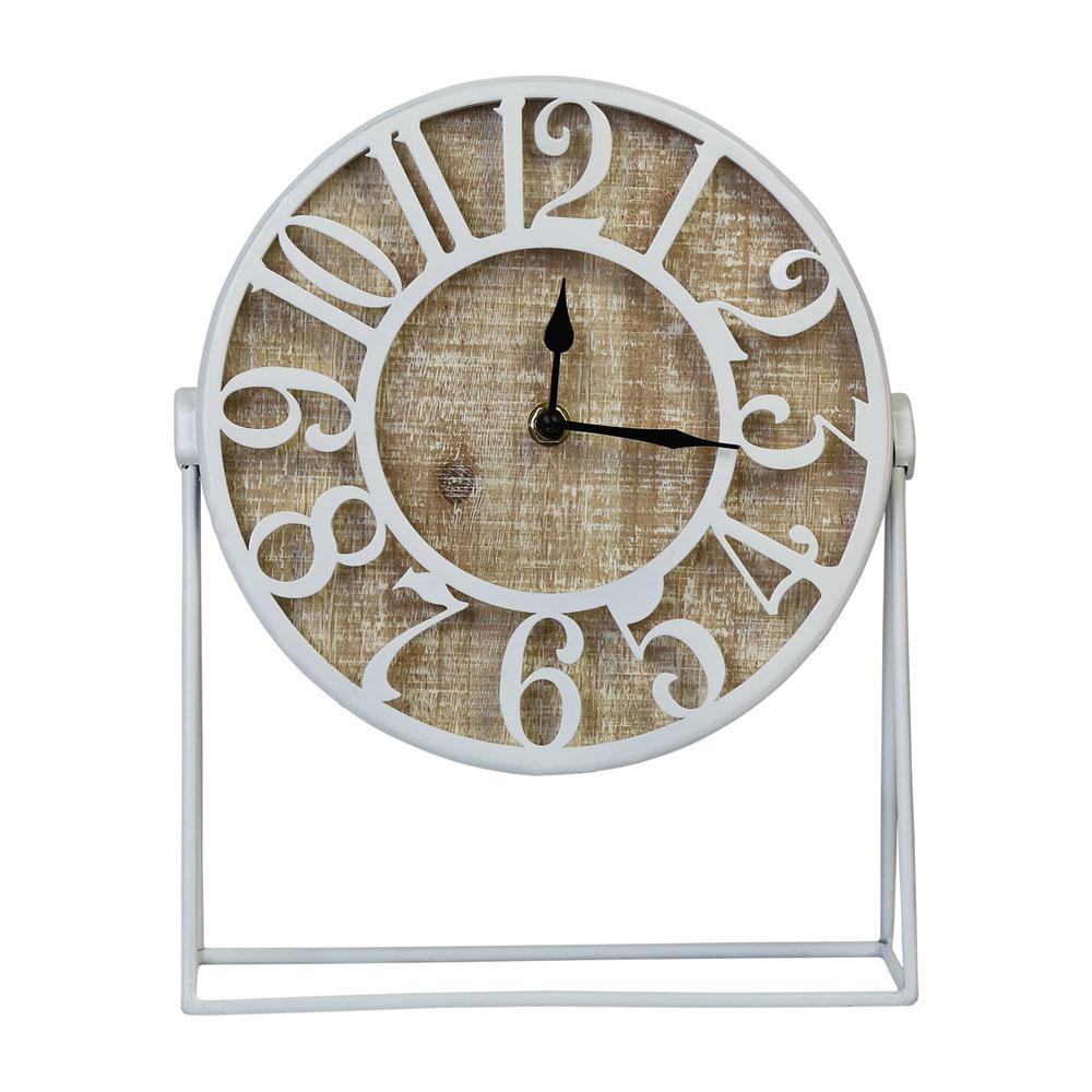 """9"""" Round Semi-Glossy White Finish Desk Clock - 376611. Picture 1"""
