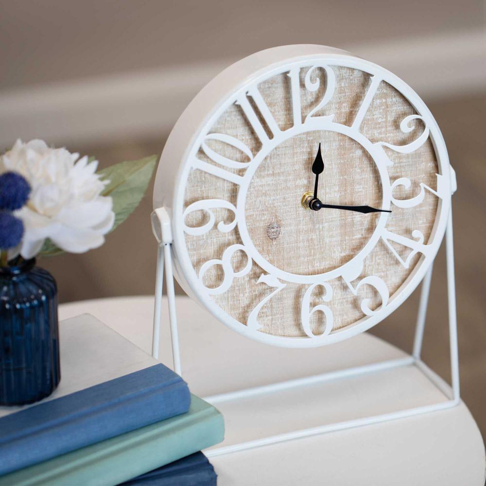 """9"""" Round Semi-Glossy White Finish Desk Clock - 376611. Picture 5"""