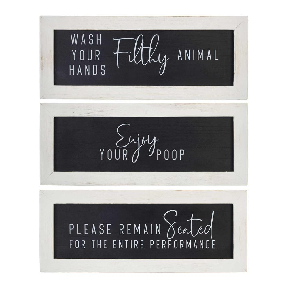 Black and White Set of 3 Framed Bathroom Humor Wall Art - 376622. Picture 1