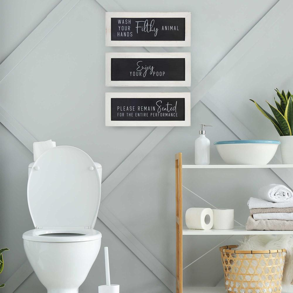 Black and White Set of 3 Framed Bathroom Humor Wall Art - 376622. Picture 2