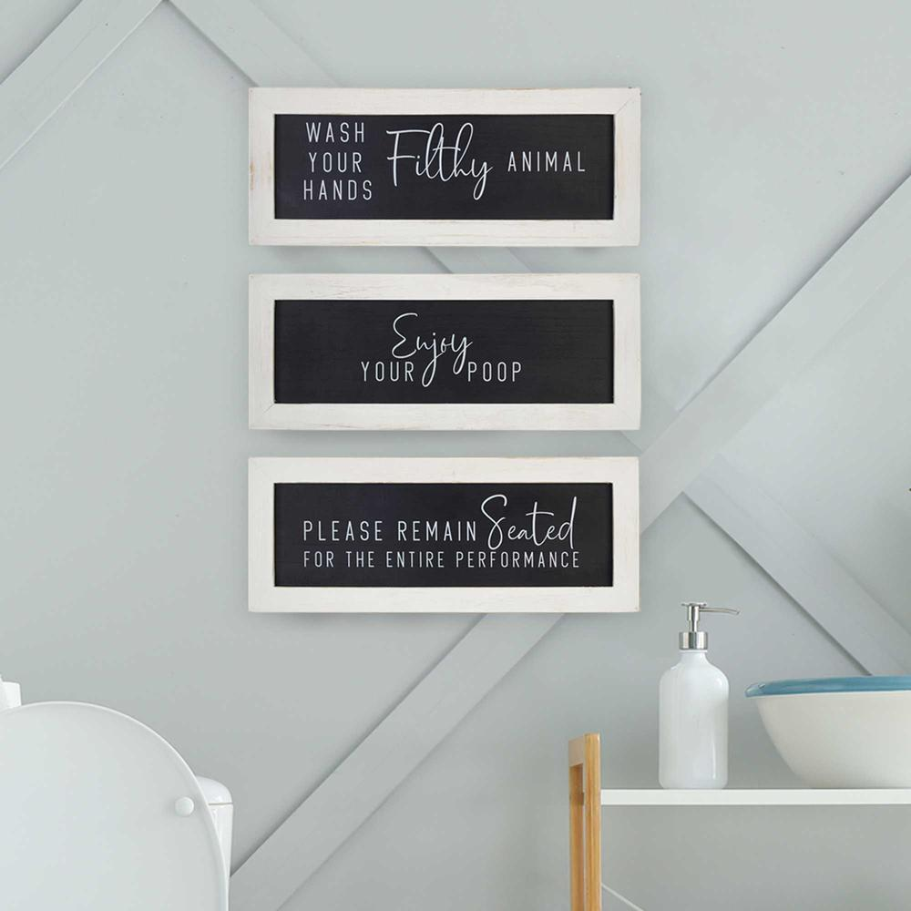 Black and White Set of 3 Framed Bathroom Humor Wall Art - 376622. Picture 6
