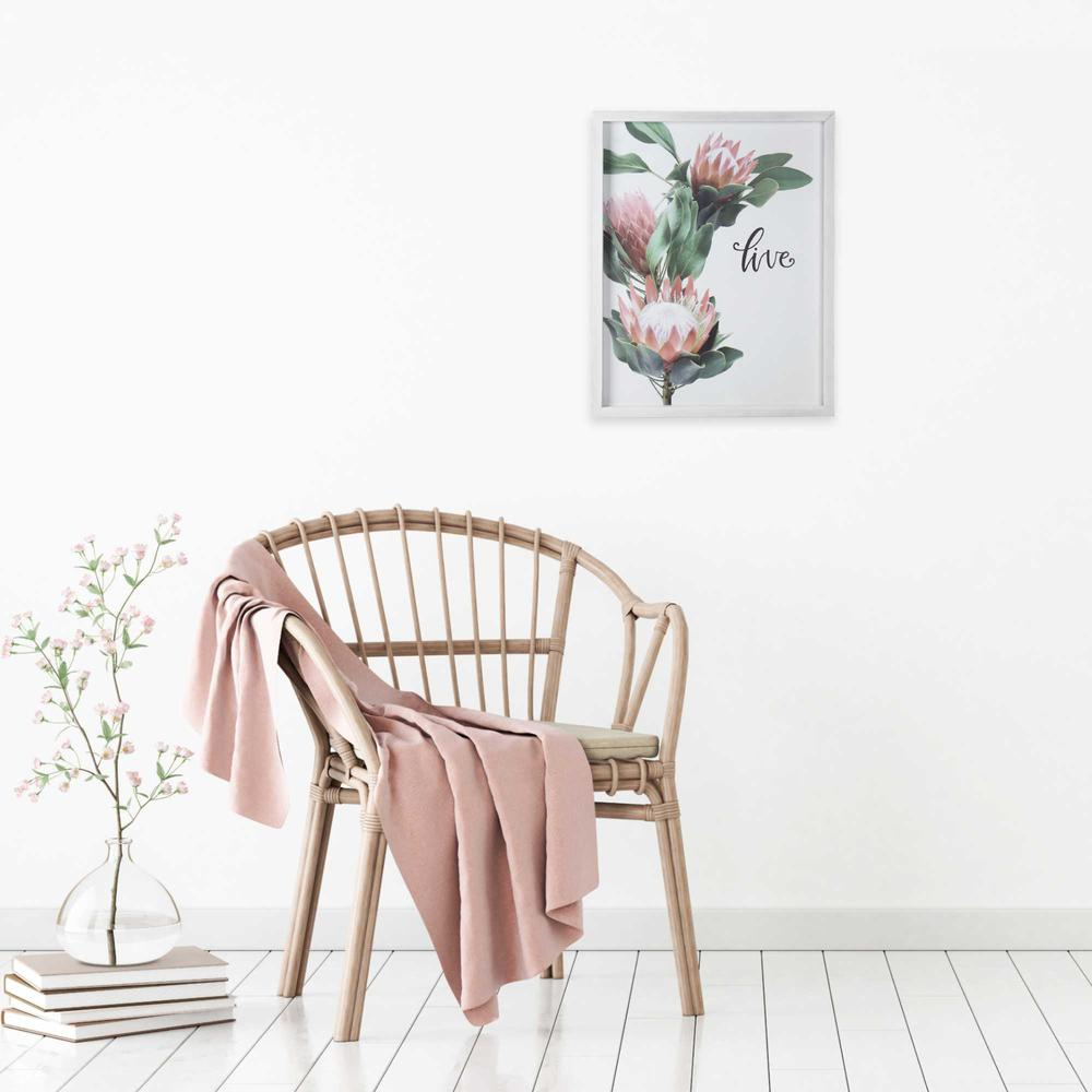 Pink Printed Flowers with Distressed White Frame - 376642. Picture 2