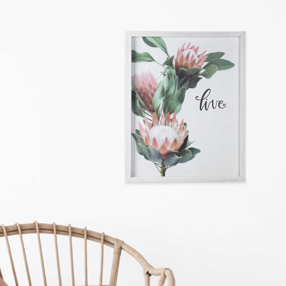 Pink Printed Flowers with Distressed White Frame - 376642. Picture 6