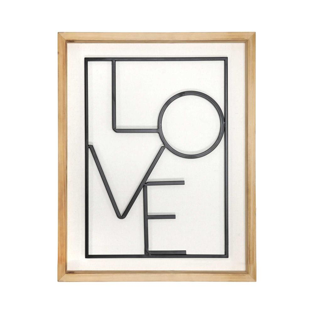 Metal LOVE on White Framed Wall Art - 376647. Picture 1