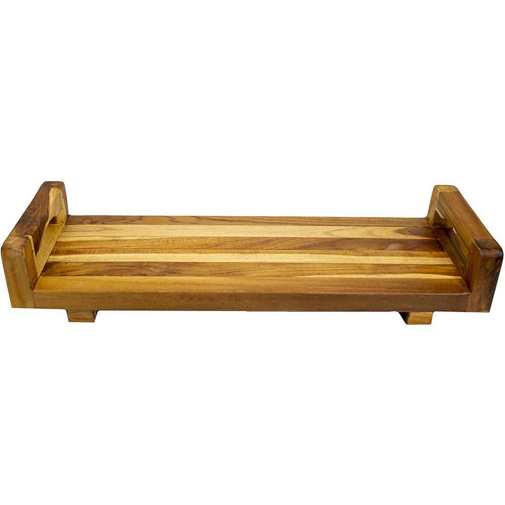 """29"""" Teak Wood Fully Assembled Bath Tray and Seat with LiftAide Arms in Earthy Teak Finish - 376659. Picture 1"""
