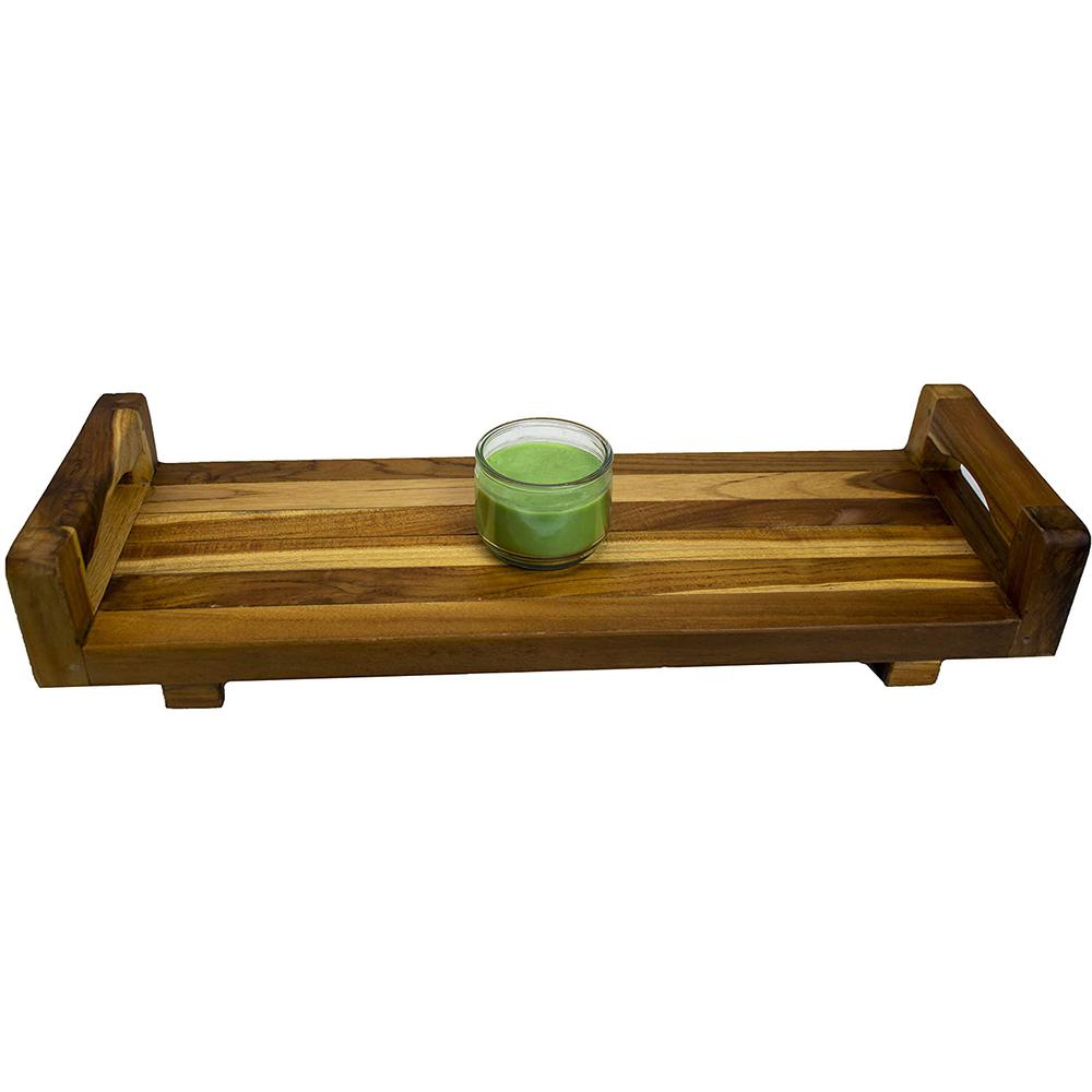 """29"""" Teak Wood Fully Assembled Bath Tray and Seat with LiftAide Arms in Earthy Teak Finish - 376659. Picture 5"""