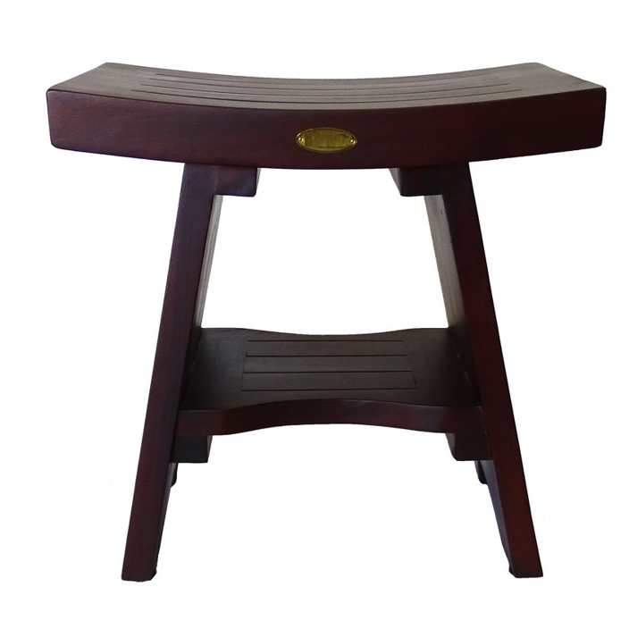 Compact Curviliniear Teak Shower Outdoor Bench with Shelf in Brown Finish - 376662. Picture 1