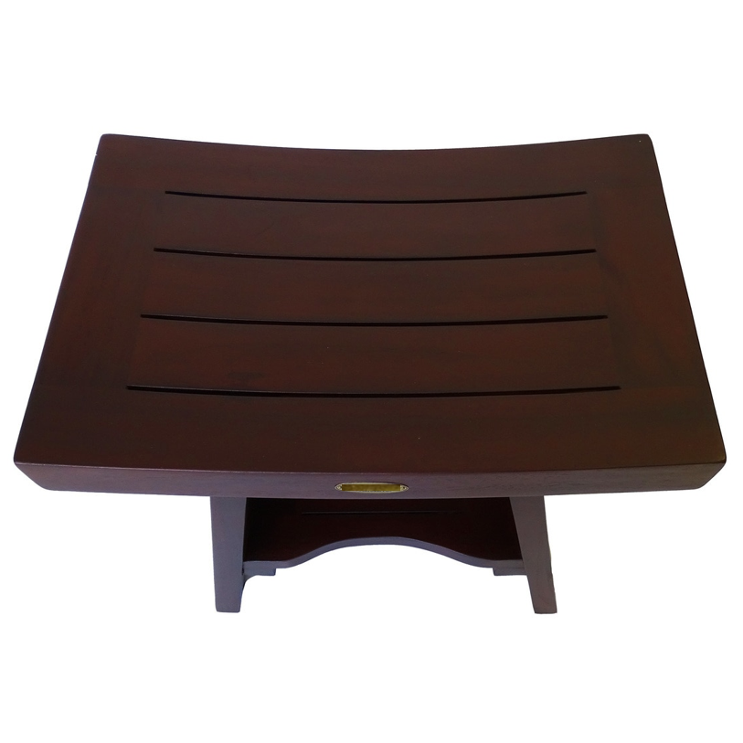 Compact Curviliniear Teak Shower Outdoor Bench with Shelf in Brown Finish - 376662. Picture 2
