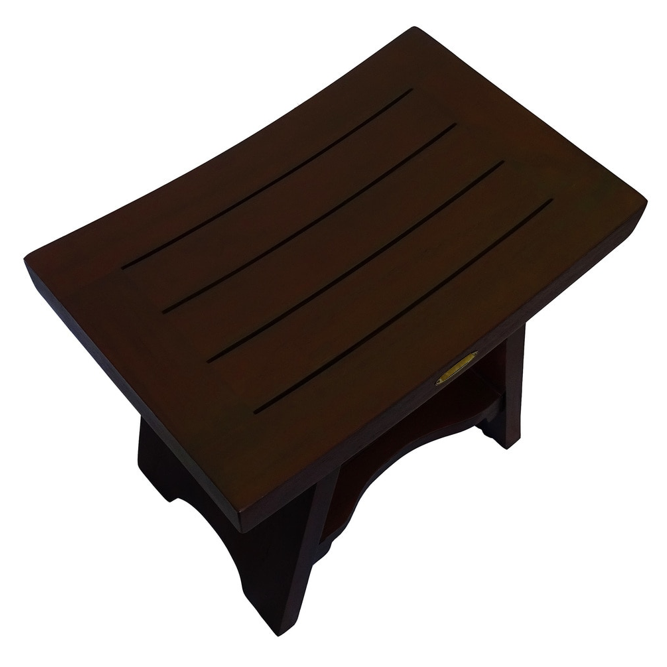Compact Curviliniear Teak Shower Outdoor Bench with Shelf in Brown Finish - 376662. Picture 3