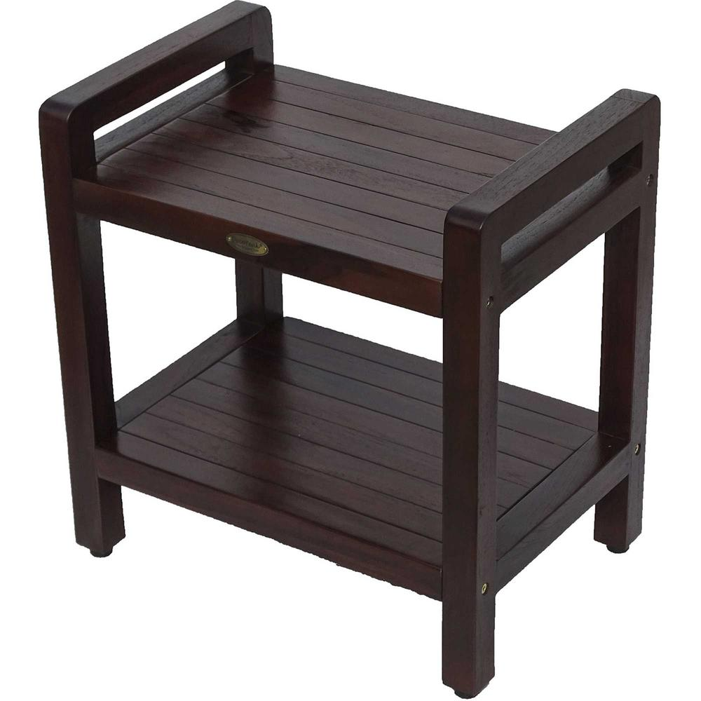 Rectangular Teak Shower Bench with Handles in Brown Finish - 376663. Picture 1