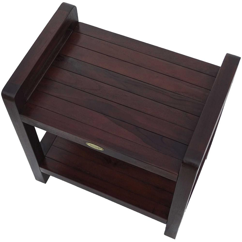 Rectangular Teak Shower Bench with Handles in Brown Finish - 376663. Picture 2