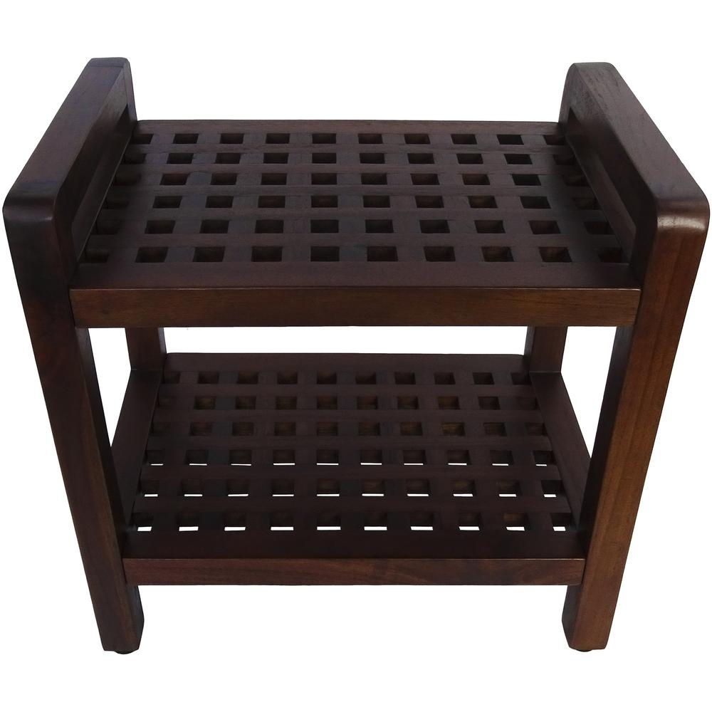 Teak Lattice Pattern Shower Stool with Shelf and Handles in Brown Finish - 376665. Picture 1