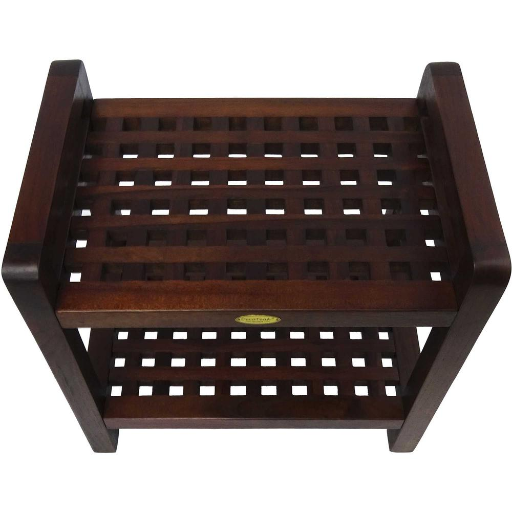 Teak Lattice Pattern Shower Stool with Shelf and Handles in Brown Finish - 376665. Picture 2