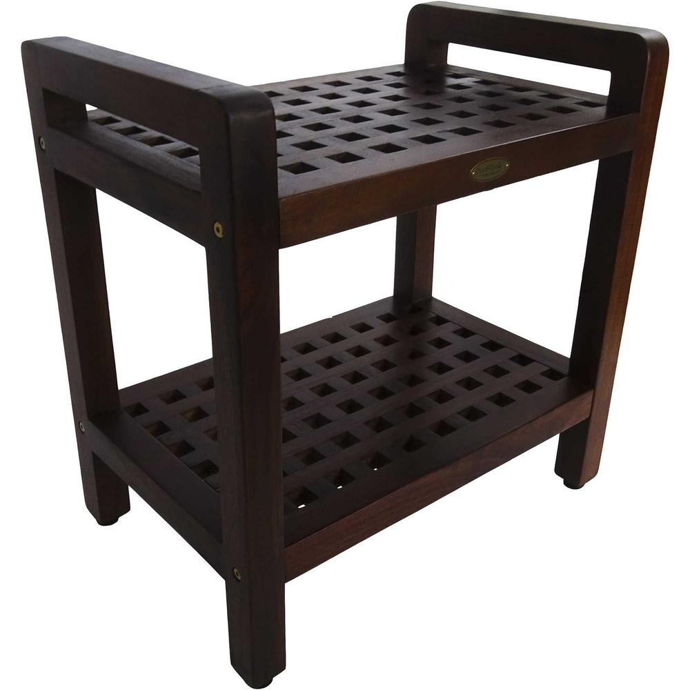 Teak Lattice Pattern Shower Stool with Shelf and Handles in Brown Finish - 376665. Picture 3