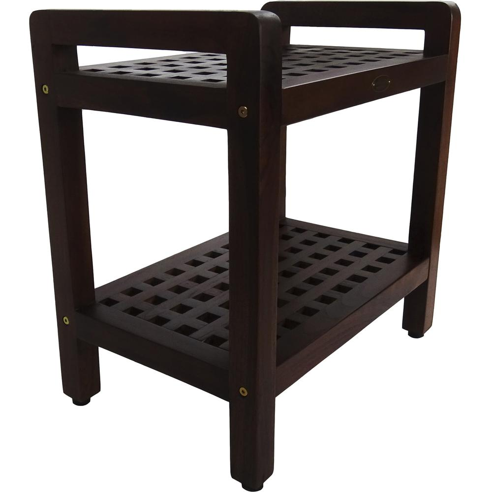 Teak Lattice Pattern Shower Stool with Shelf and Handles in Brown Finish - 376665. Picture 4