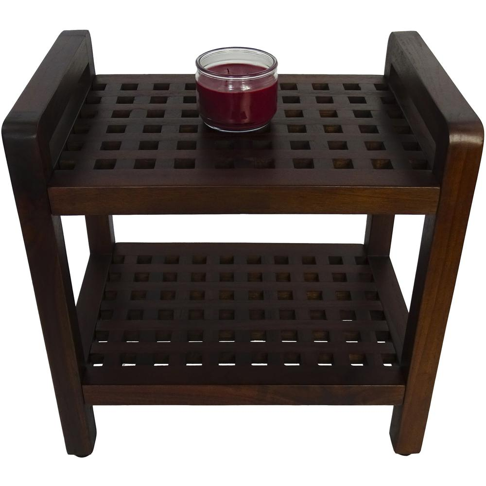 Teak Lattice Pattern Shower Stool with Shelf and Handles in Brown Finish - 376665. Picture 5