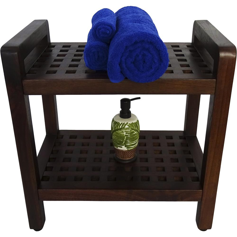 Teak Lattice Pattern Shower Stool with Shelf and Handles in Brown Finish - 376665. Picture 6