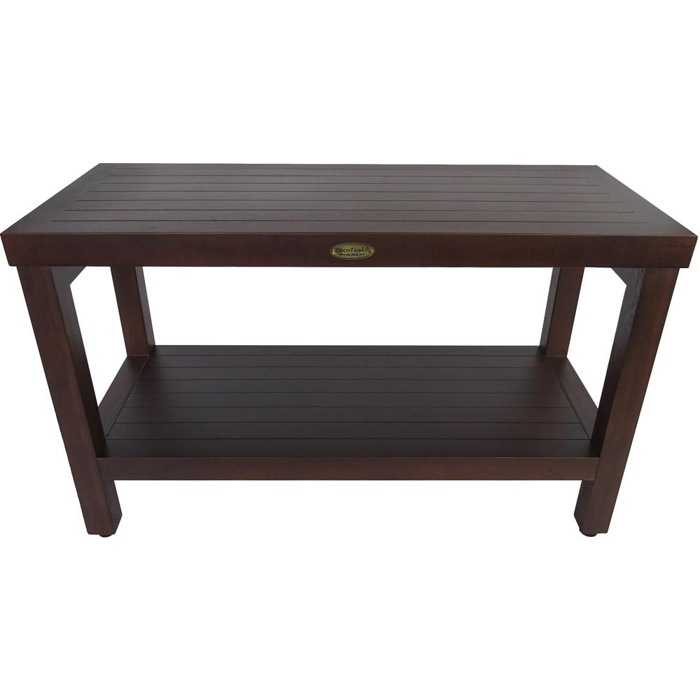 Rectangular Teak Shower Stool or Bench with Shelf in Brown Finish - 376668. Picture 1