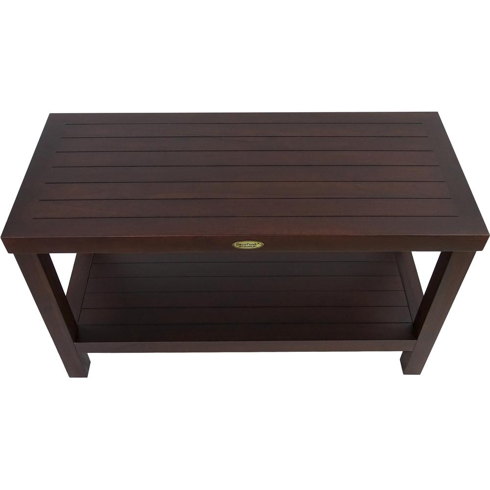 Rectangular Teak Shower Stool or Bench with Shelf in Brown Finish - 376668. Picture 2