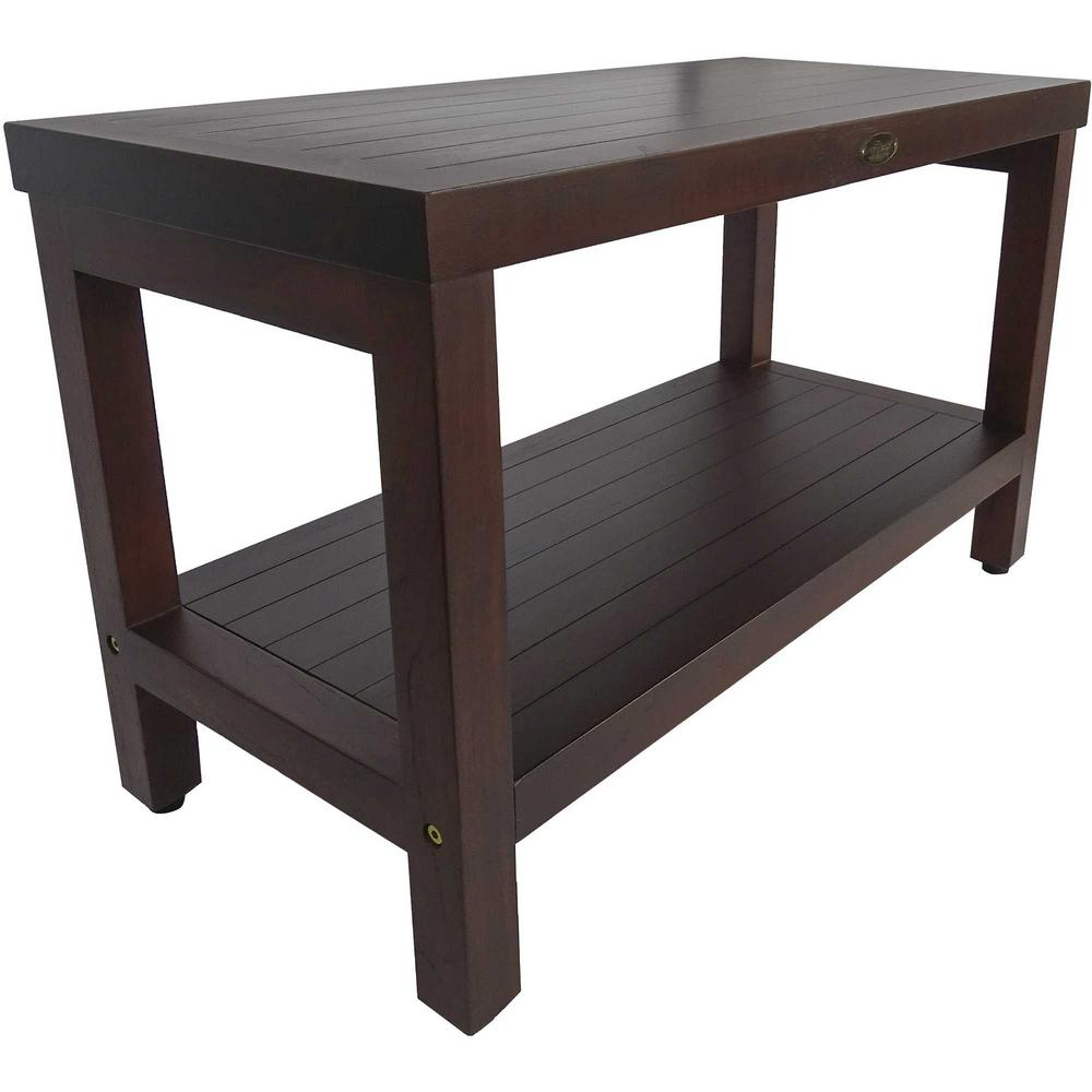 Rectangular Teak Shower Stool or Bench with Shelf in Brown Finish - 376668. Picture 3