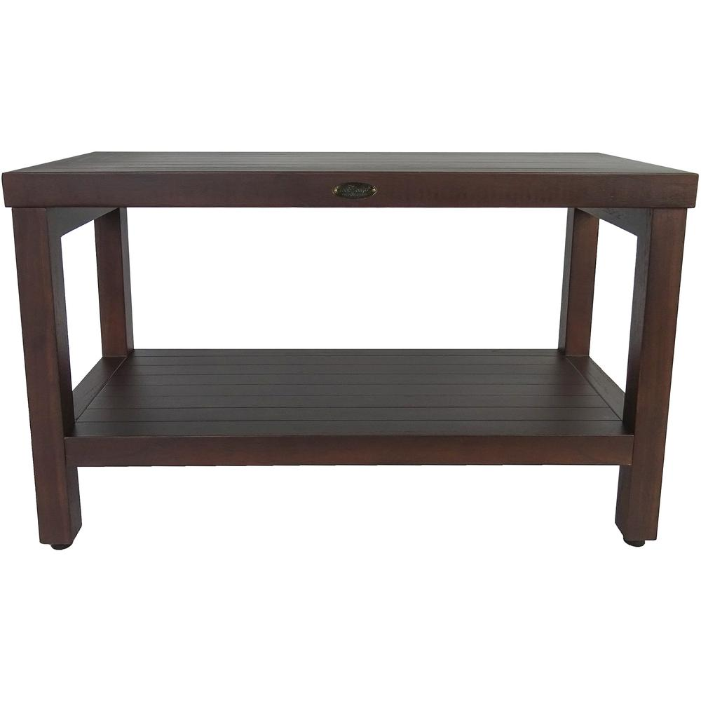Rectangular Teak Shower Stool or Bench with Shelf in Brown Finish - 376668. Picture 4