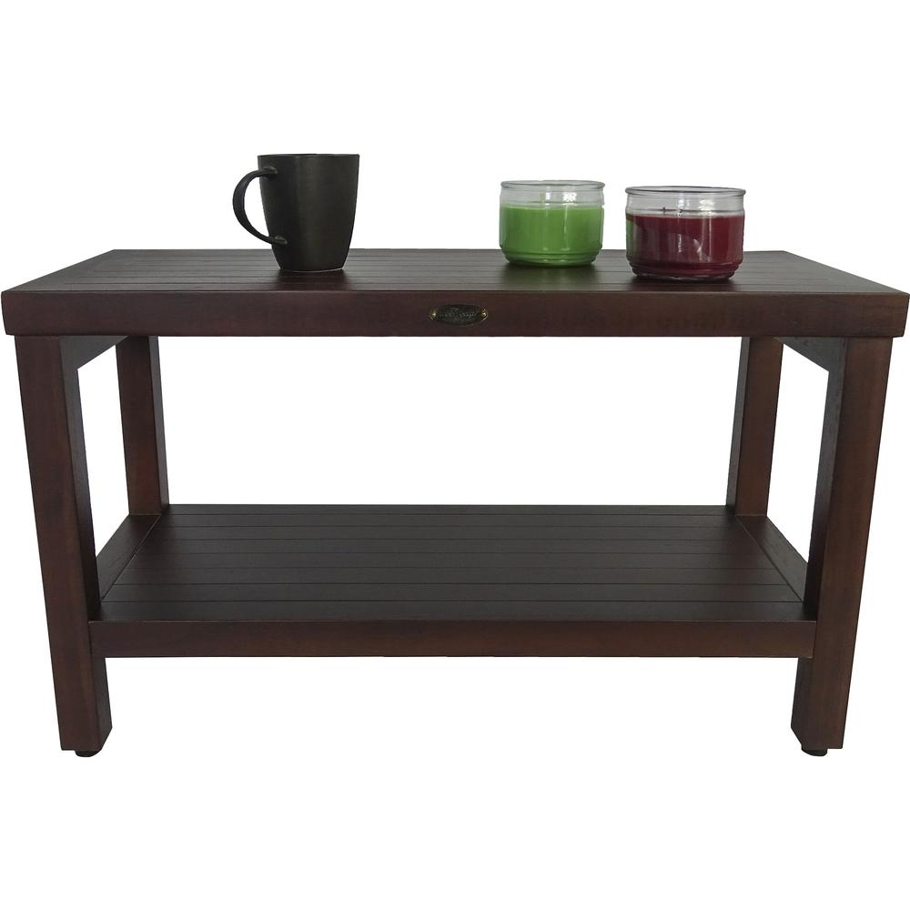 Rectangular Teak Shower Stool or Bench with Shelf in Brown Finish - 376668. Picture 5