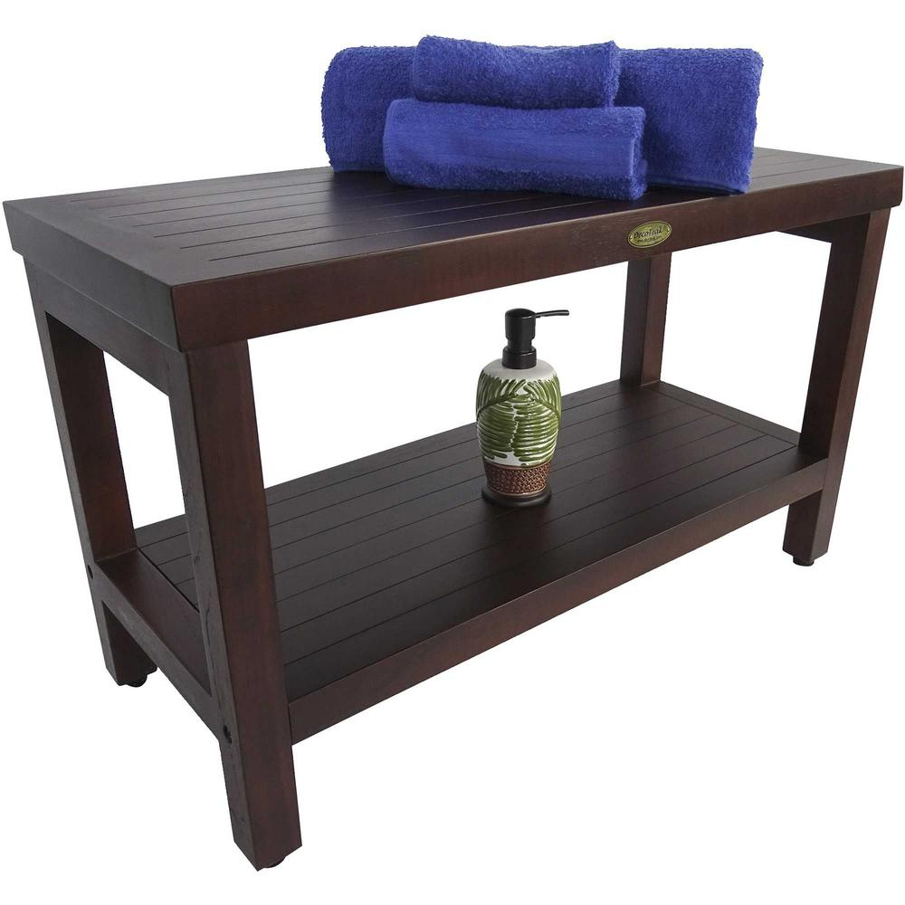 Rectangular Teak Shower Stool or Bench with Shelf in Brown Finish - 376668. Picture 6