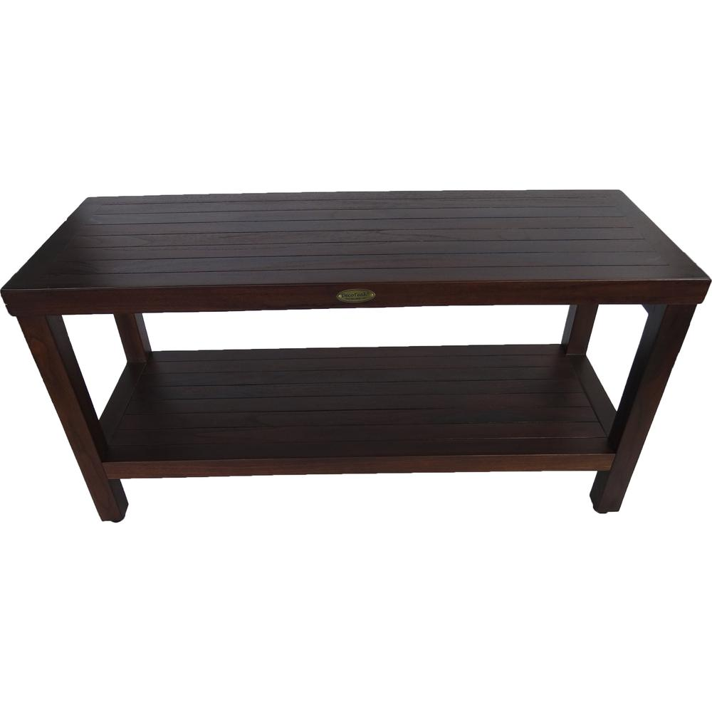 Rectangular Teak Shower Outdoor Bench with Shelf in Brown Finish - 376669. Picture 2