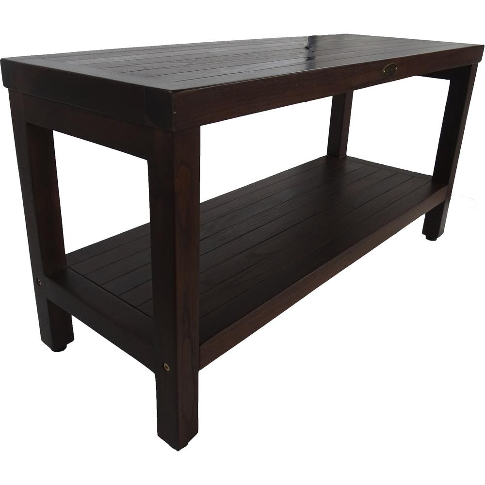 Rectangular Teak Shower Outdoor Bench with Shelf in Brown Finish - 376669. Picture 3