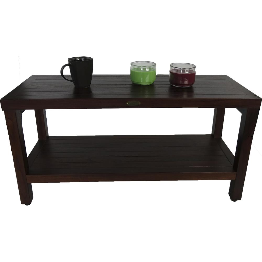 Rectangular Teak Shower Outdoor Bench with Shelf in Brown Finish - 376669. Picture 5