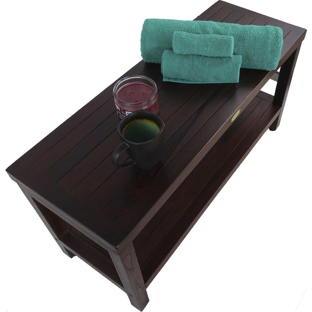 Rectangular Teak Shower Outdoor Bench with Shelf in Brown Finish - 376669. Picture 6