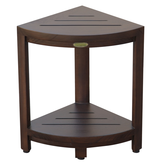 Compact Triangular Teak Shower Outdoor Bench with Shelf in Brown Finish - 376677. Picture 1