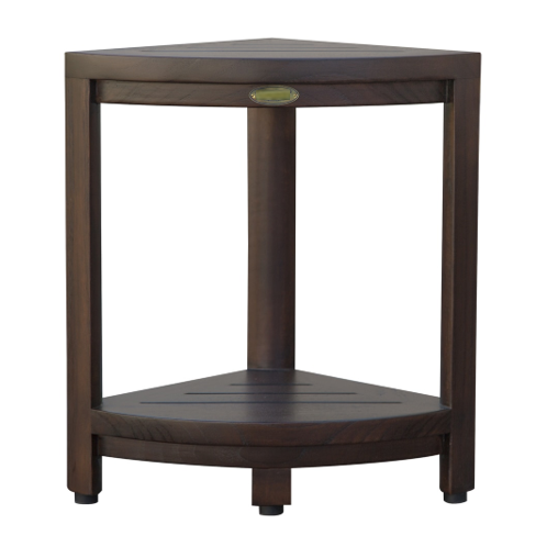 Compact Triangular Teak Shower Outdoor Bench with Shelf in Brown Finish - 376677. Picture 2