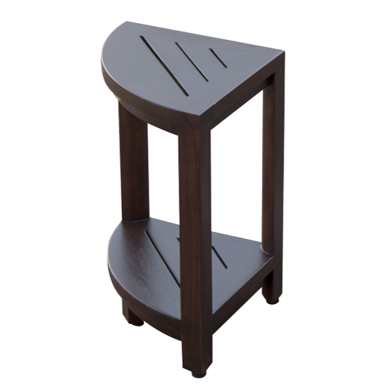 Compact Triangular Teak Shower Outdoor Bench with Shelf in Brown Finish - 376677. Picture 3