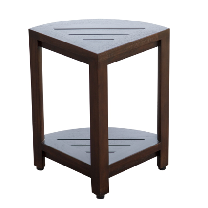 Compact Triangular Teak Shower Outdoor Bench with Shelf in Brown Finish - 376677. Picture 4