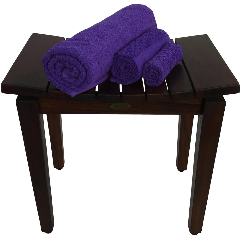Contemporary Flared Teak Shower Stool or Bench in Brown Finish - 376679. Picture 5