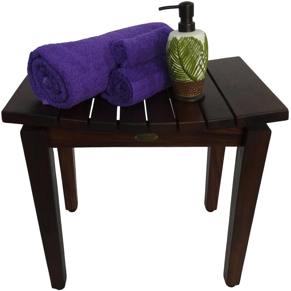 Contemporary Flared Teak Shower Stool or Bench in Brown Finish - 376679. Picture 6