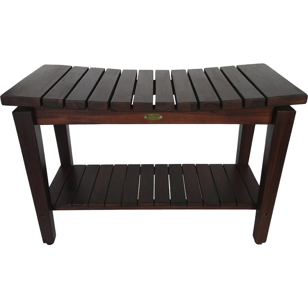 Contemporary Teak Shower Bench with Shelf in Brown Finish - 376680. Picture 1