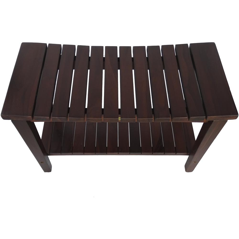 Contemporary Teak Shower Bench with Shelf in Brown Finish - 376680. Picture 2